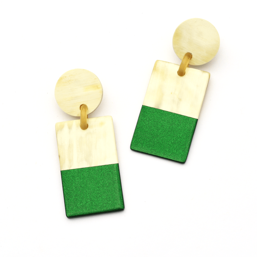 Sunshine Tienda Green Metallic Cabana Earrings