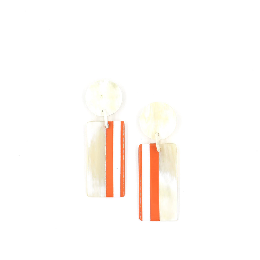 Sunshine Tienda Orange and White Cabana Earrings