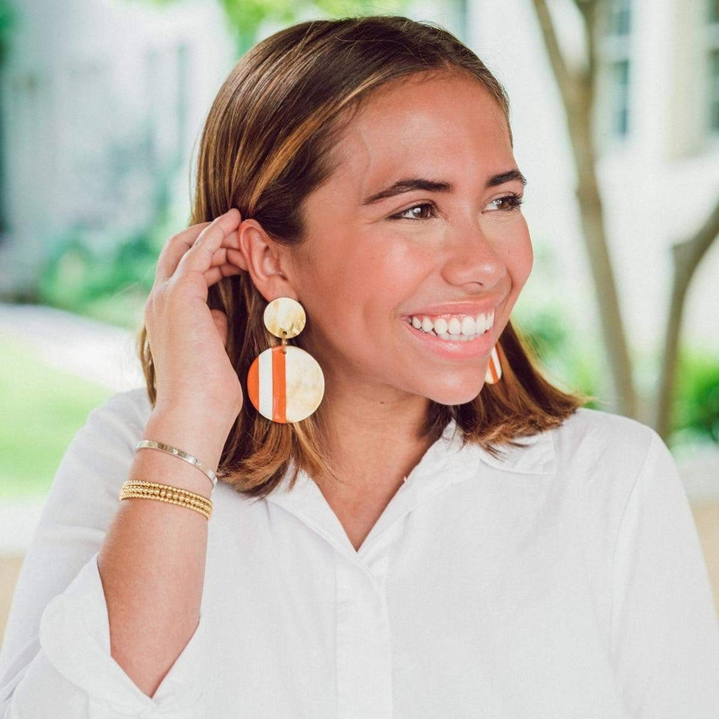 Sunshine Tienda Orange and White Circle Earrings