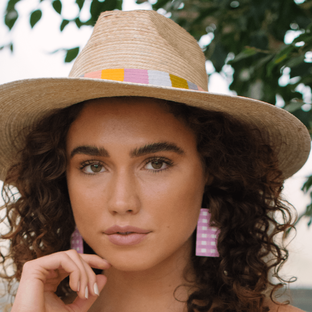 Sunshine Tienda® Pink Gingham Horn Cabana Earrings