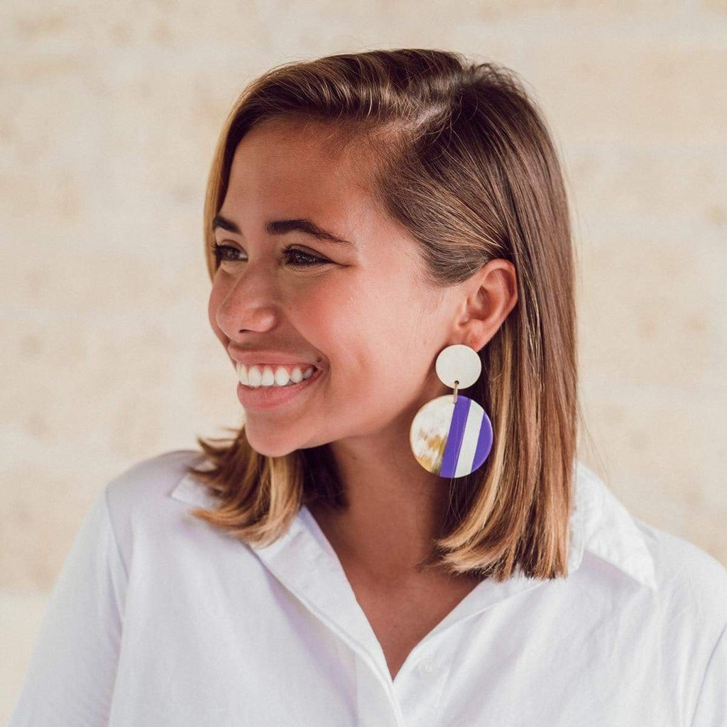 Sunshine Tienda Purple and White Circle Earrings