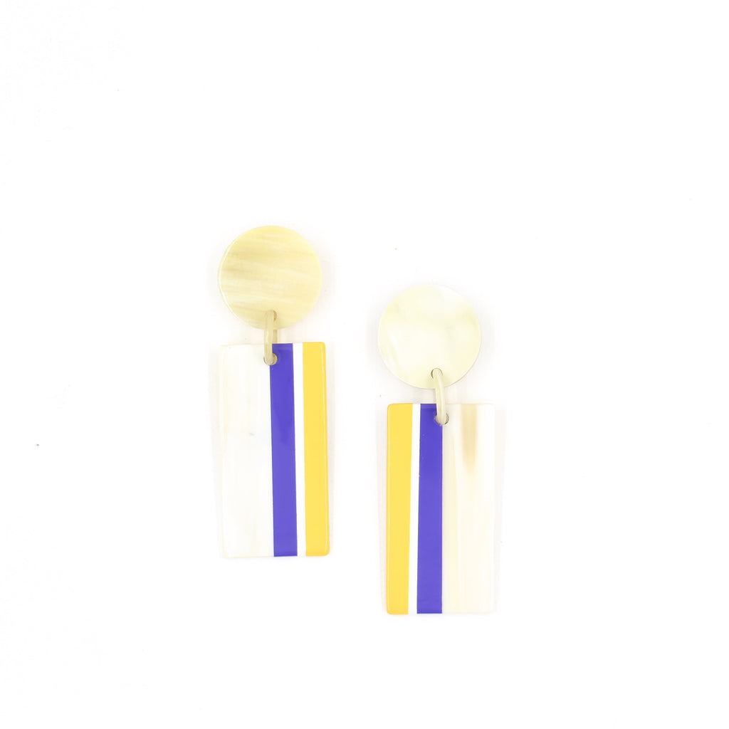 Sunshine Tienda Purple and Yellow Cabana Earrings