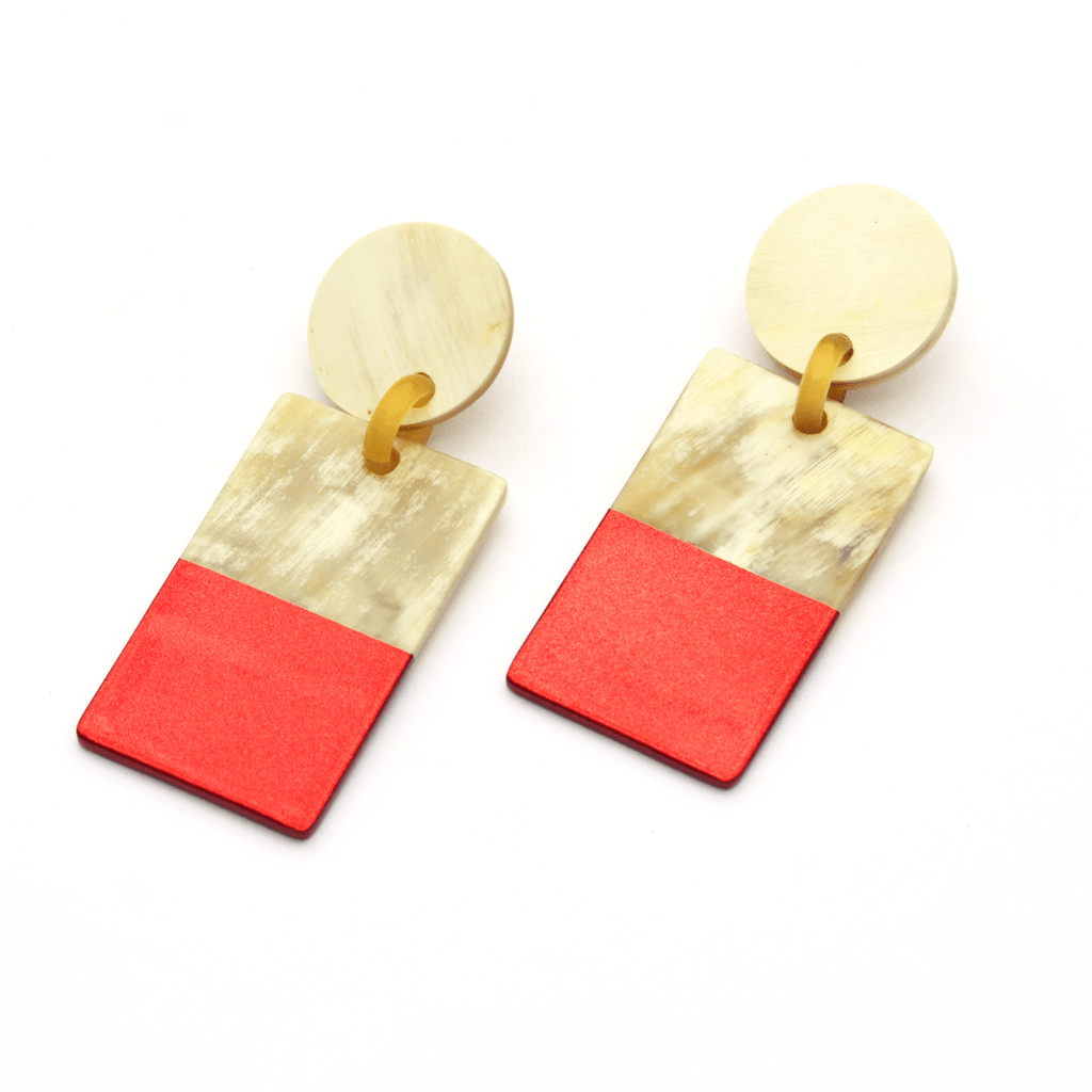 Sunshine Tienda Red Metallic Cabana Earrings