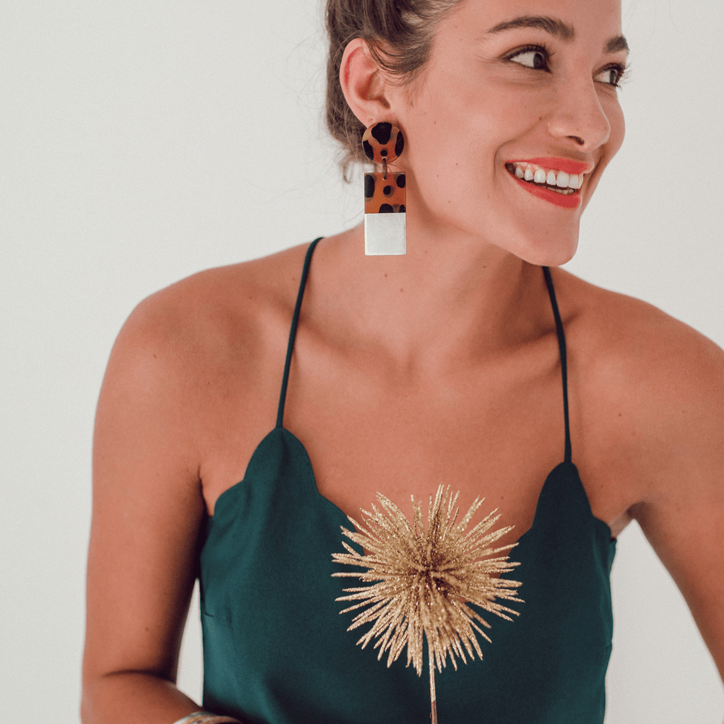 Sunshine Tienda Silver Dipped Tortoise Cabana Earrings