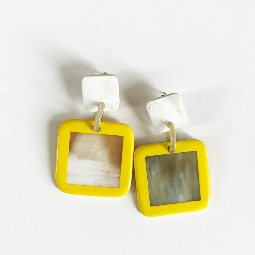 Sunshine Tienda Small Yellow Outline Earrings