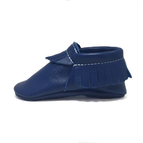blue, moccasins, moccs, soft sole, hard sole, handmade, leather, genuine leather, USA, boy, girl