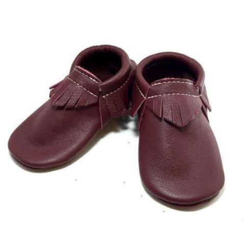 Maroon, fashion, toddler, shoes, kid, moccasins, moccs, soft sole, hard sole, handmade, leather, genuine leather, USA, boy, girl