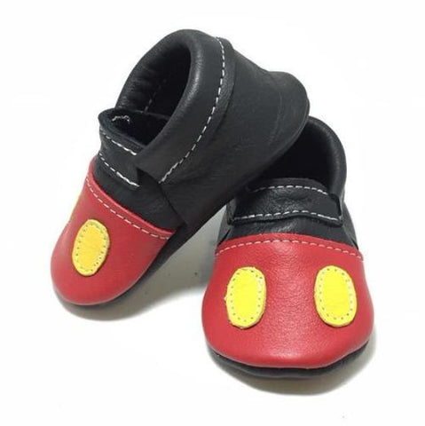 Mickey Mouse, Disney, shoe, moccasins, leather, handmade, soft sole, hard sole, boy, girl, moccs, fashion, kid, toddler
