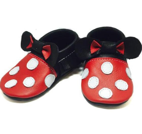 moccasins, leather, handmade, soft sole, hard sole, boy, girl, moccs, fashion, kid, toddler, minnie mouse, disney