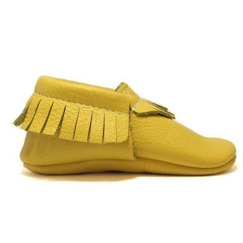 Yellow, shoes, kid, moccasins, moccs, soft sole, hard sole, handmade, leather, genuine leather, USA, boy, girl