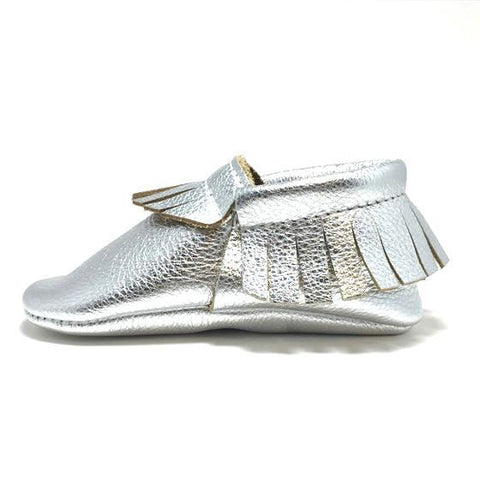 Metallic, silver, Platinum, moccasins, moccs, soft sole, hard sole, handmade, leather, genuine leather, USA, boy, girl, shoes