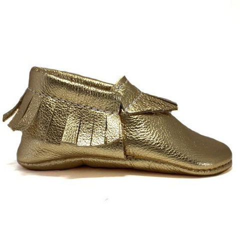 Metallic, gold, moccasins, moccs, soft sole, hard sole, handmade, leather, genuine leather, USA, boy, girl