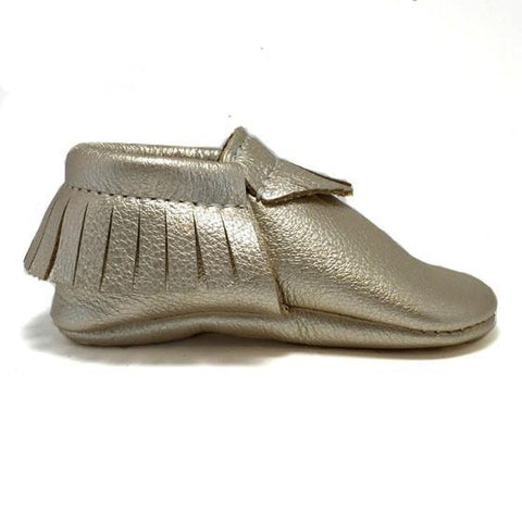 Platinum, moccasins, moccs, soft sole, hard sole, handmade, leather, genuine leather, USA, boy, girl