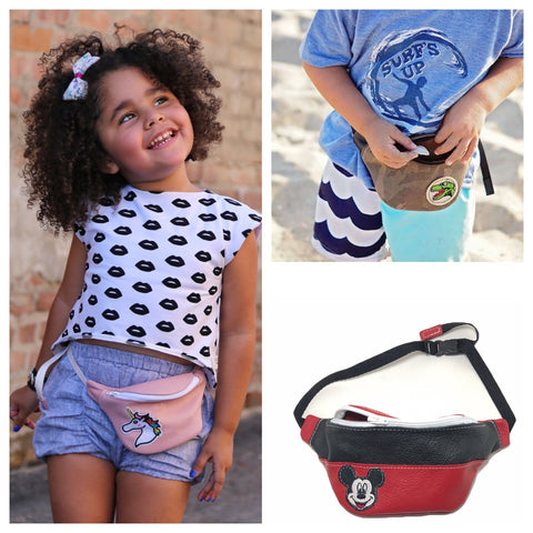 fanny pack, purse, patches, fashion, toddler, kid, handmade, leather, genuine leather, USA, boy, girl