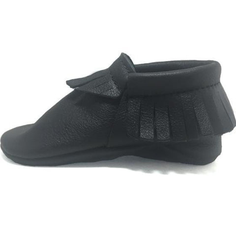 black, moccasins, moccs, soft sole, hard sole, handmade, leather, genuine leather, USA, boy, girl