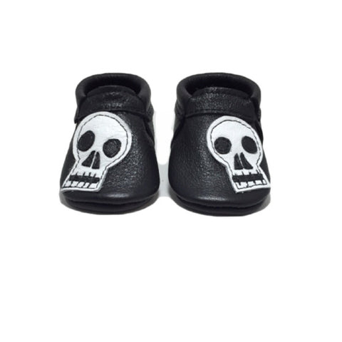 Skulls, shoe, moccasins, leather, handmade, soft sole, hard sole, boy, girl, moccs, fashion, kid, toddler