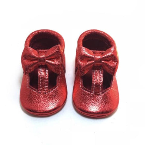 T straps, red, metallic, shiny, sandals, leather, handmade, Mary Janes, soft soled, bows, hard sole