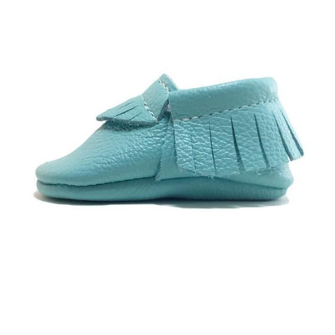 fashion, toddler, shoes, kid, moccasins, moccs, soft sole, hard sole, handmade, leather, genuine leather, USA, boy, girl, aqua, blue