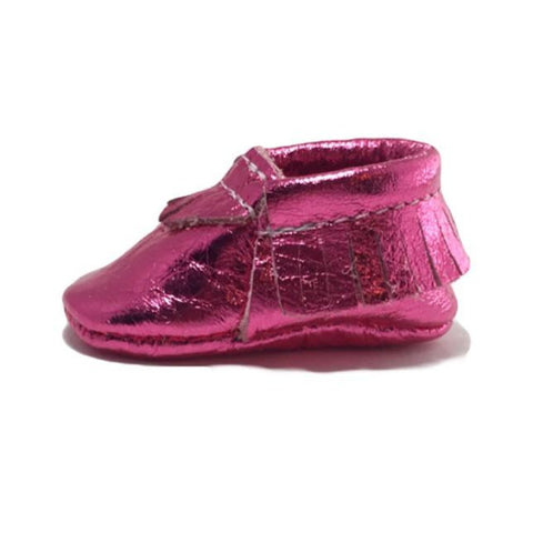 Metallic, pink, moccasins, leather, handmade, soft sole, hard sole, girl, moccs
