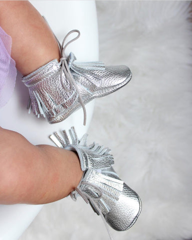 Fringe boot, silver, handmade, leather, moccasins, baby, girl, boy, soft sole, hard sole