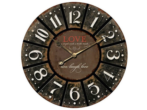 New Round Charcoal Love Clock XL 60cm Wall Decor Ticking Home Decorative