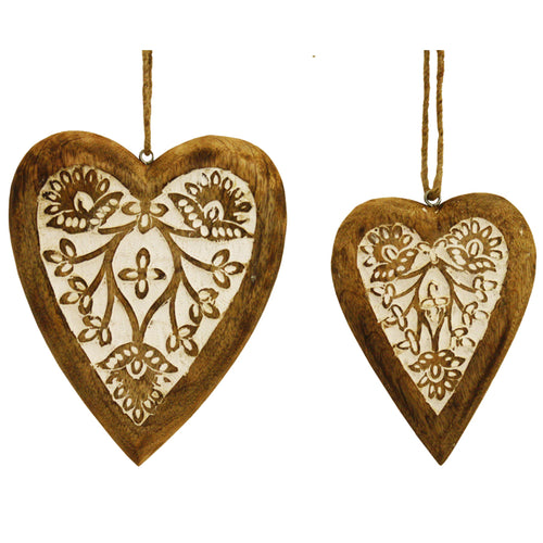 NEW Set/2 Nested Mango Wood Carved Hanging  Heart Home Decor