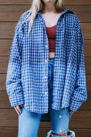 Blue Textured Vintage Flannel