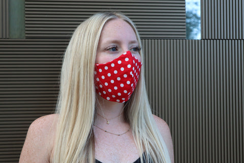 Red & White Polka Dot Face Mask & Face Covering