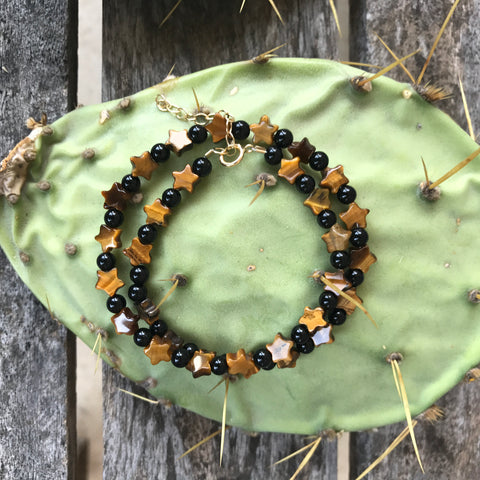 Tigers Eye + Black Onyx Teensy Wrap