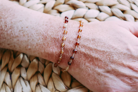 Carnelian Teensy Chain Wrap