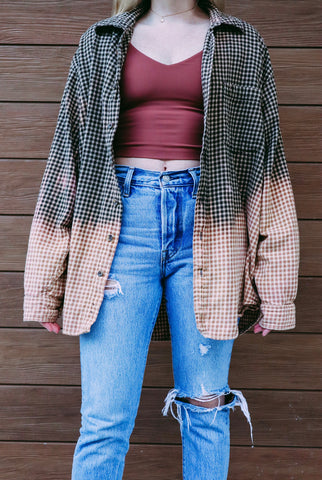 Brown + Tan Plaid Vintage Flannel