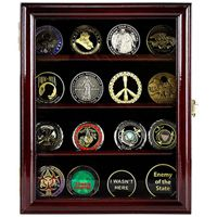 4 Row Coin Display Cabinet - Cherry