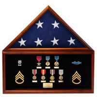 Pre-Assembled Flag and Memorabilia Shadow Box Display Case with Flag
