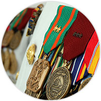 Built to order official military medal rack builder