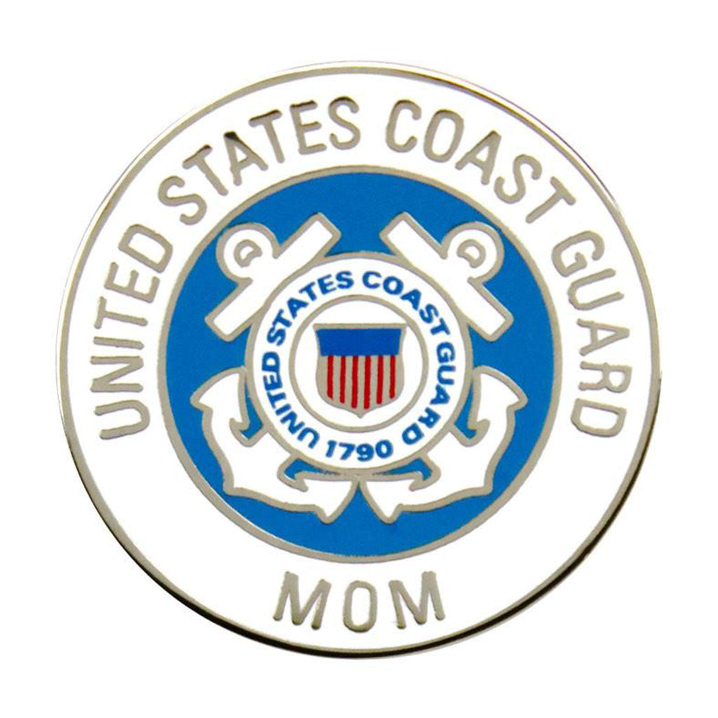 Coast Guard Mom with Crest 7/8 inch Lapel Pin