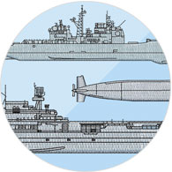 Over 30 embroidered Navy ship classes