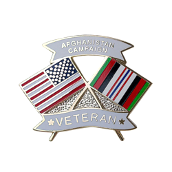 "American and Afghanistan Campaign Veteran Crossed Flags 1 1/8"" Lapel Pin"