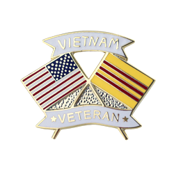 "American and Vietnam Veteran Crossed Flags 1 1/8"" Lapel Pin"