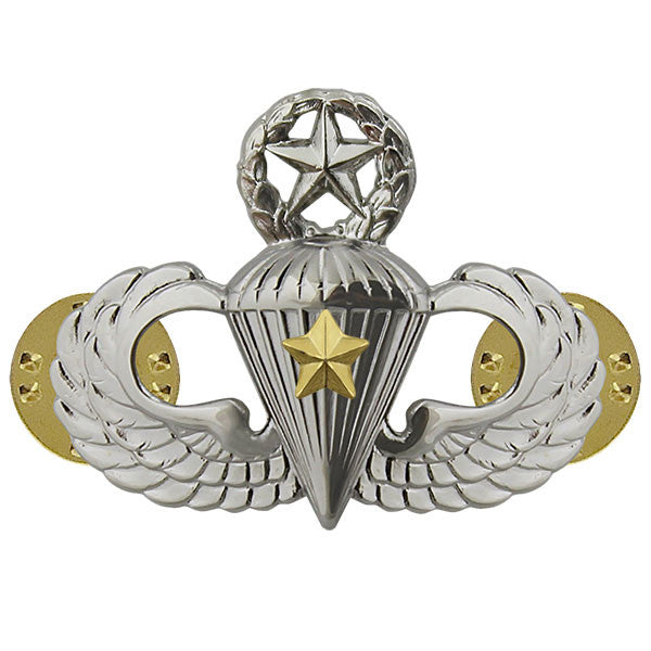 Army Master Combat Parachutist Badge - 5th Award - Mirror/Chrome