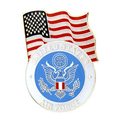 United States Flag With Air Force Emblem Lapel Pin
