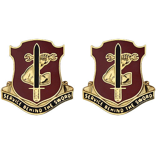 209th Support Battalion Unit Crest (Service Behind the Sword)