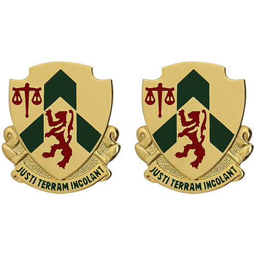796th Military Police Battalion Unit Crest (Justi Terram Incolant)