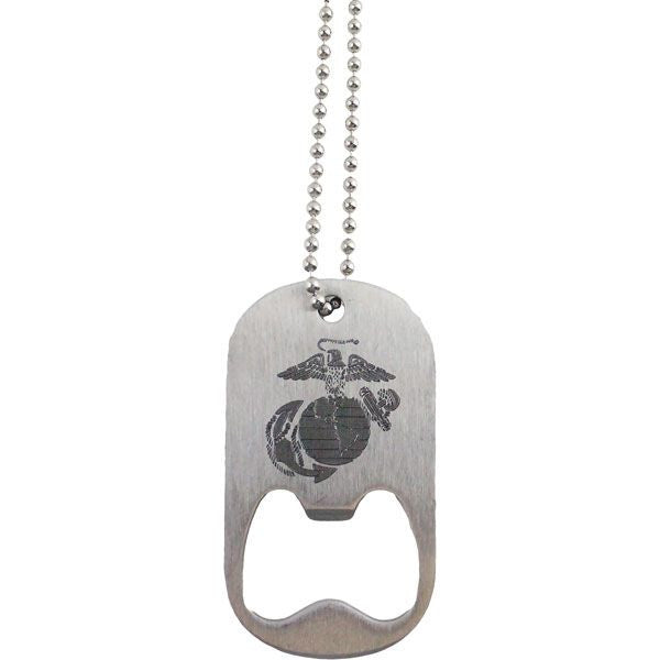 U.S. Marine Corps Eagle Globe and Anchor Dog Tag Bottle Opener