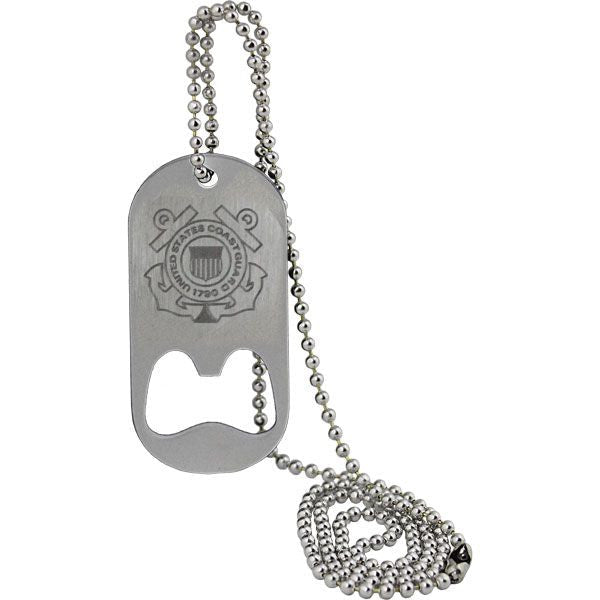 U.S. Coast Guard Crest Dog Tag Bottle Opener