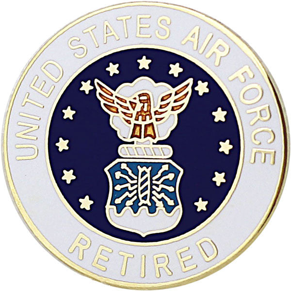 Air force retired with hap arnold wings 34 lapel pin usamm air force retired with crest 78 lapel pin publicscrutiny Choice Image