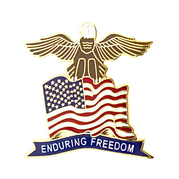 Us Flag Eagle W Enduring Freedom Banner 1 Lapel Pin Usamm