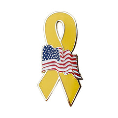 Yellow Ribbon with American Flag 1 1/4
