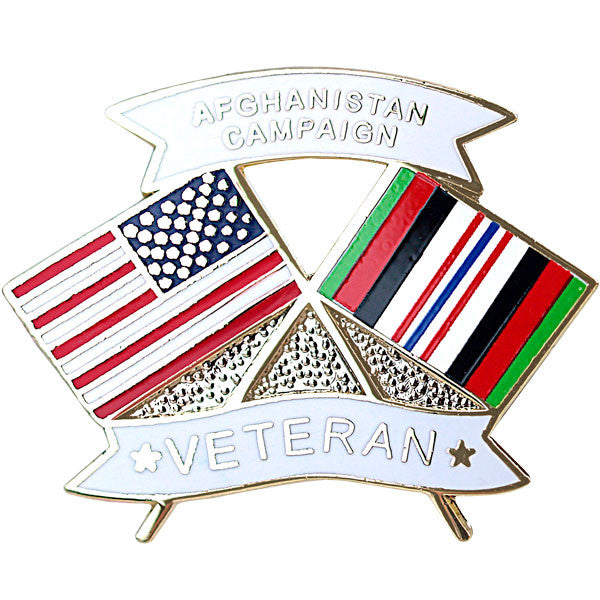American and Afghanistan Campaign Veteran Crossed Flags 1 1/8