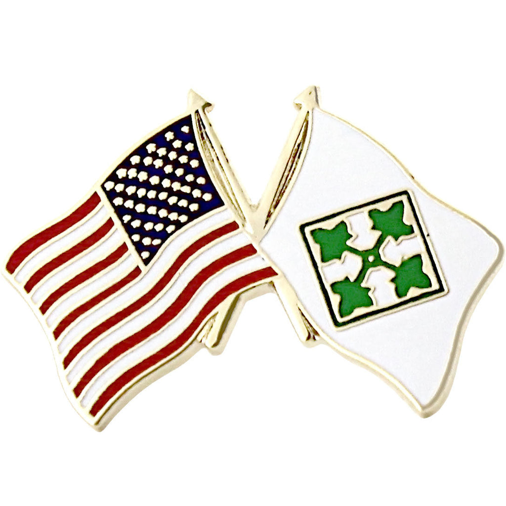 American and 4th Infantry Division Crossed Flags 1