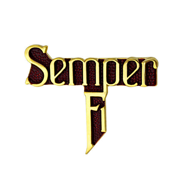 Marine Corps Semper Fi Gold on Red 1 1/8